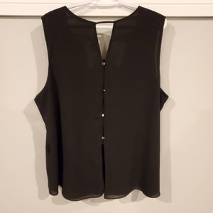 Tops - Black Tanktop with Silver Buttons